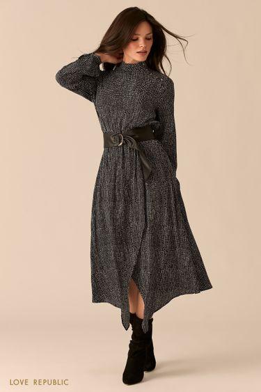 Платье из вискозы с асимметричным разрезом и ремнем на талии 0359047560