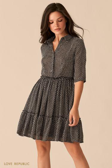 Черное мини-платье с мелкографичным принтом 0359052569