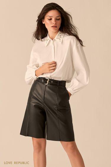 Белая рубашка с акцентным отложным воротничком 0359069364