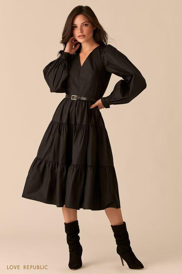 Черное ярусное платье из хлопка с ремешком на талии 0359026536-50