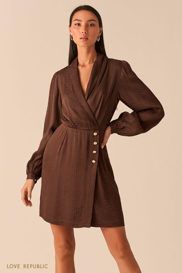 """Шоколадное платье-пиджак из вискозы с принтом """"гусиная лапка"""" 0359032552-22"""
