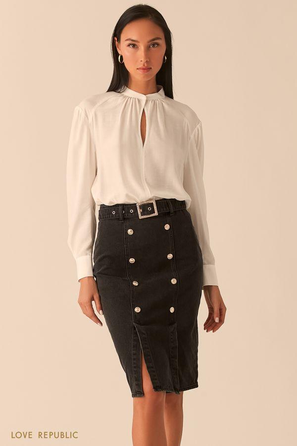 """Белая блузка с вырезом """"замочная скважина"""" 0359034337-1"""