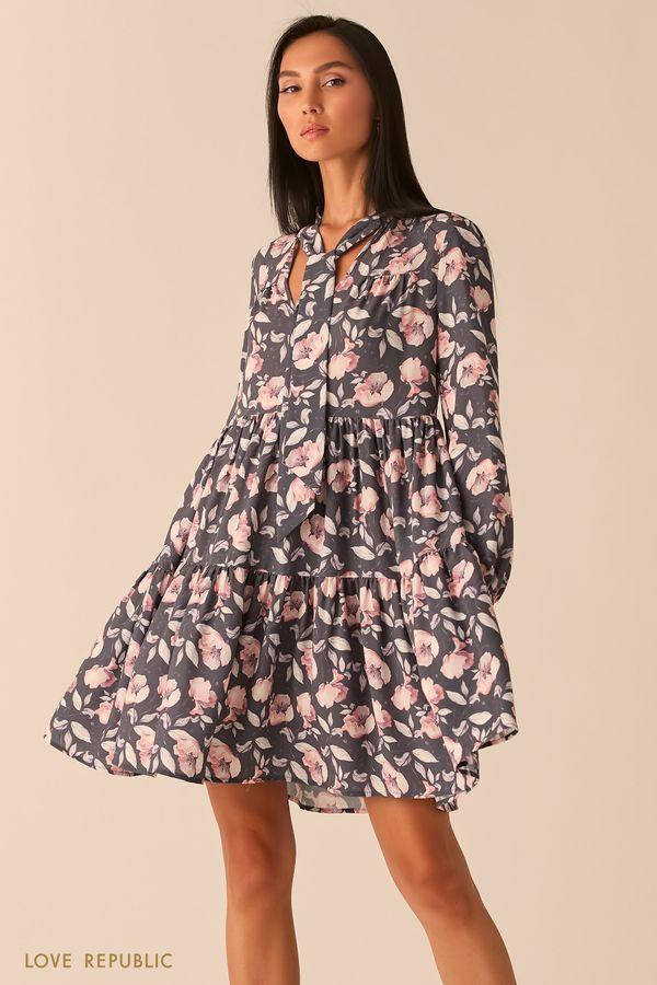 Серое платье с галстуком и цветочным принтом 0359043557-35