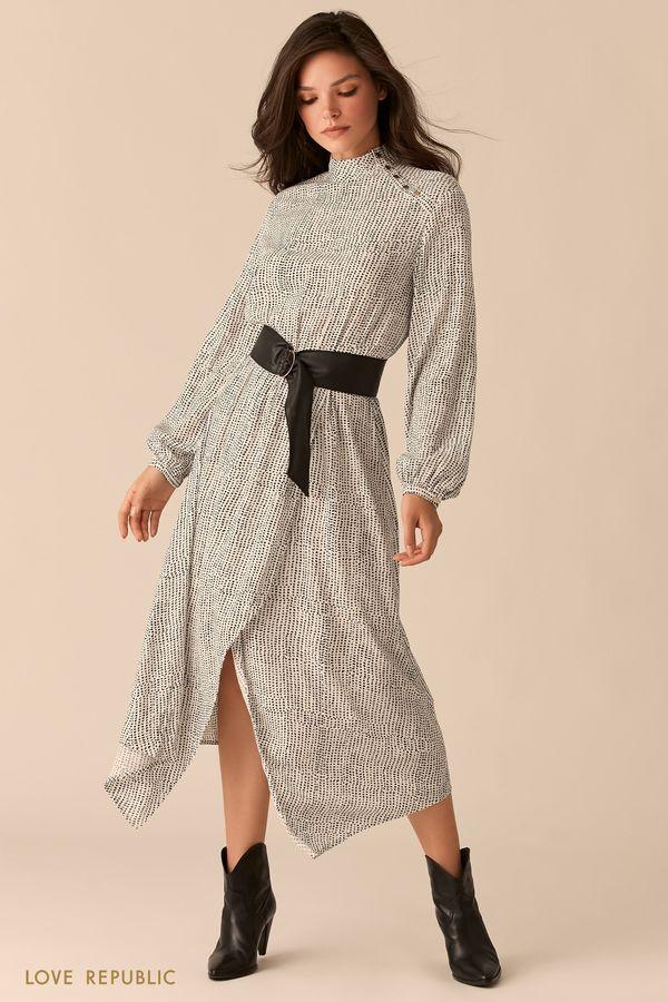 Платье из вискозы с асимметричным разрезом и ремнем на талии 0359047560-53