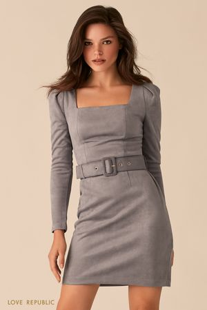 Мини-платье из серой экозамши с вырезом каре фото