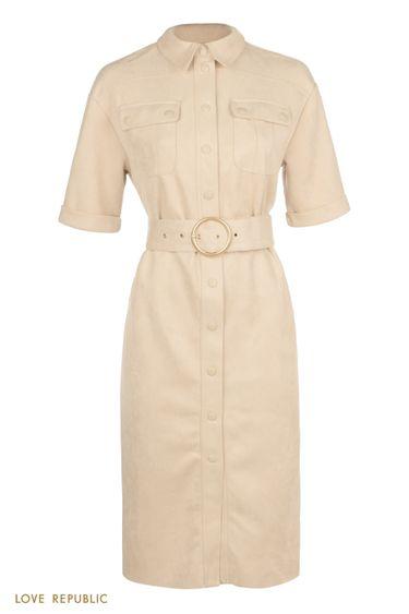 Платье-рубашка из экозамши в стиле милитари 0359101502