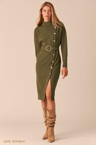 Платье с асимметричным рядом пуговиц и разрезом цвета хаки 0359102505