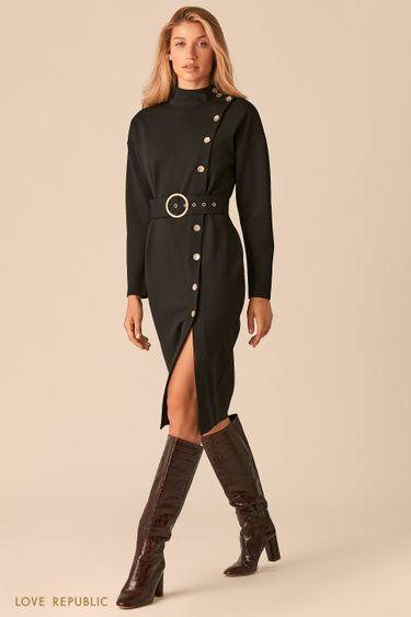 Черное платье с асимметричным рядом пуговиц и разрезом 0359102505