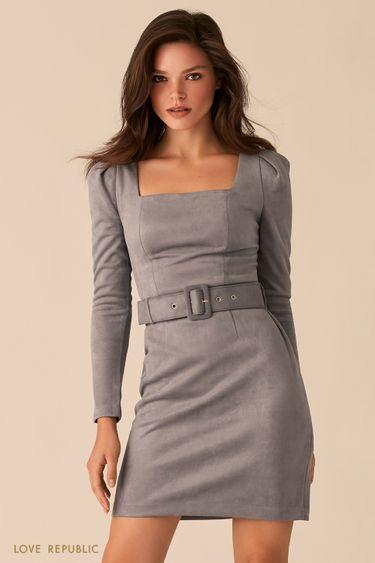 Мини-платье из серой экозамши с вырезом каре 0359105535