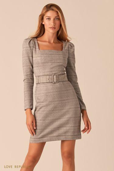 Бежевое мини-платье в клетку с вырезом каре 0359105535