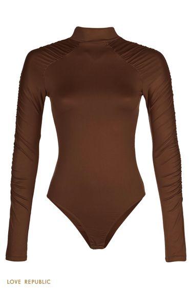 Боди с драпировкой по рукавам реглан шоколадного цвета 0359115345