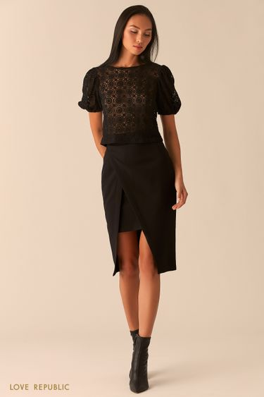 Черная блузка с рукавами-фонариками из кружева 0359117350