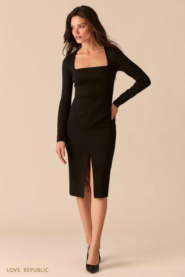 Платье-футляр с разрезом и вырезом каре 0359125585