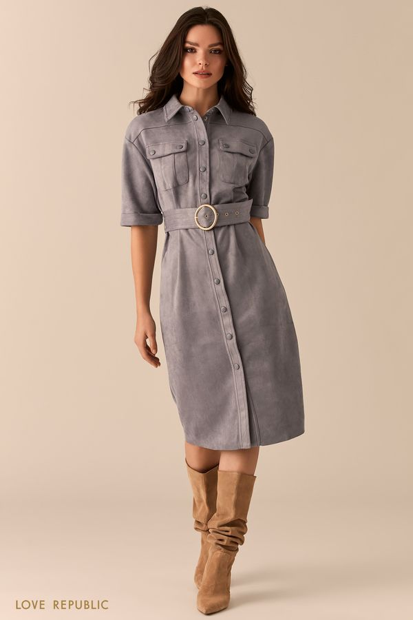 Платье-рубашка из экозамши в стиле милитари 0359101502-61