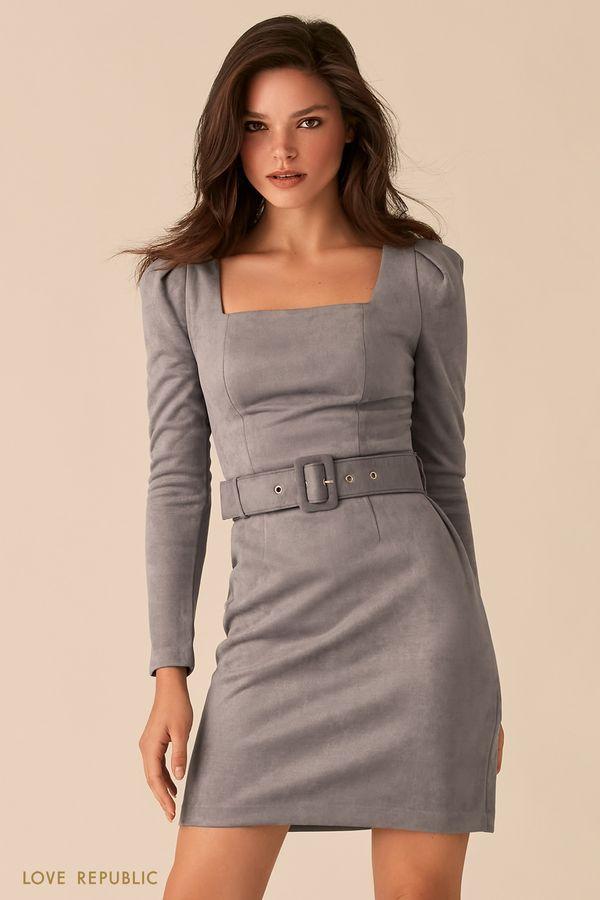 Мини-платье из серой экозамши с вырезом каре 0359105535-32