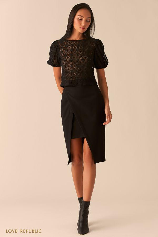 Черная блузка с рукавами-фонариками из кружева 0359117350-50