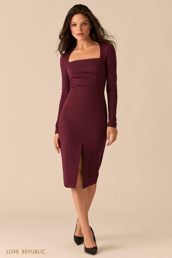 Платье-футляр с разрезом и вырезом каре 0359125585-80