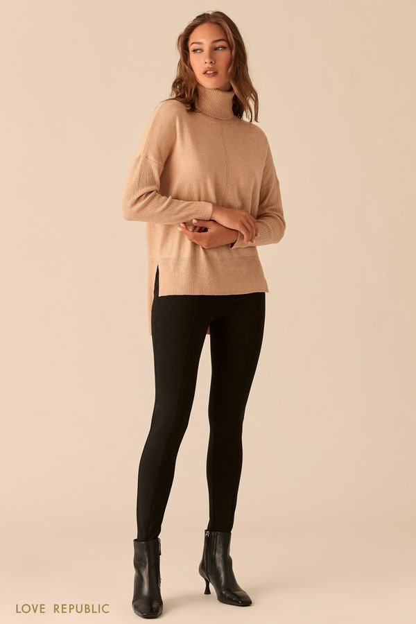 Облегающие трикотажные брюки с фактурными швами цвета нуги 0359125740-68