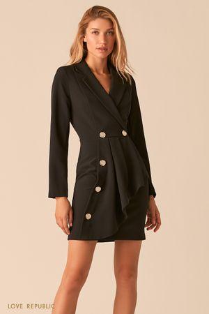 Черное платье-пиджак с асимметричным воланом фото