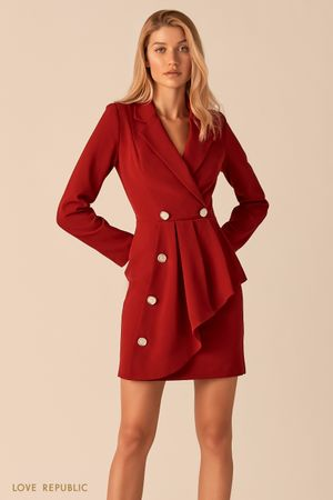 Платье-пиджак с асимметричным воланом ягодного цвета