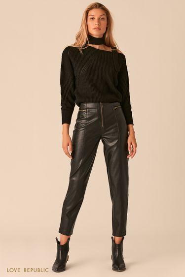 Черные брюки из экокожи с акцентными молниями 0359202736