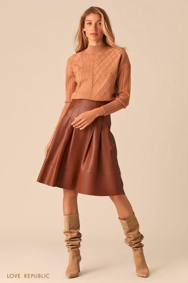 Расклешенная юбка из экокожи коньячного оттенка 0359205207