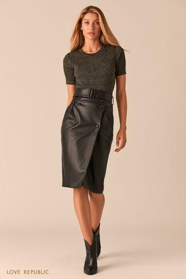 Кожаная черная юбка с запахом и широким ремнем 0359205213