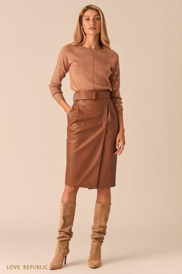 Кожаная юбка с запахом и широким ремнем песочного цвета 0359205213