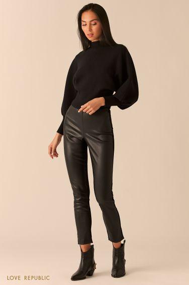 Комбинированные брюки с высокой посадкой 0359205733