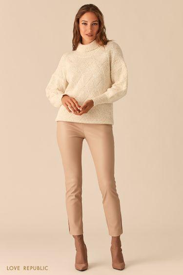 Кремовые брюки-дудочки из экокожи 0359205746