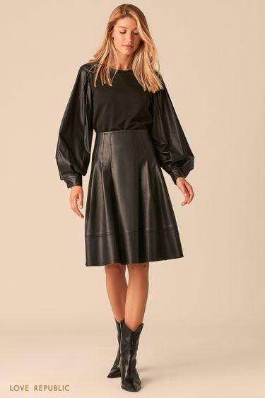 Комбинированная черная блузка с рукавами реглан из экокожи 0359208303