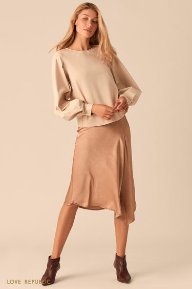 Комбинированная блузка с рукавами реглан из экокожи 0359208303
