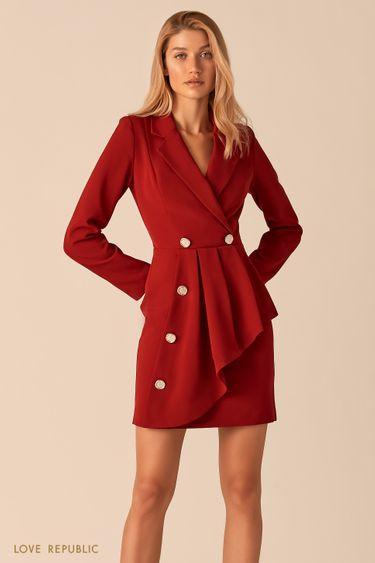 Платье-пиджак с асимметричным воланом ягодного цвета 0359222573