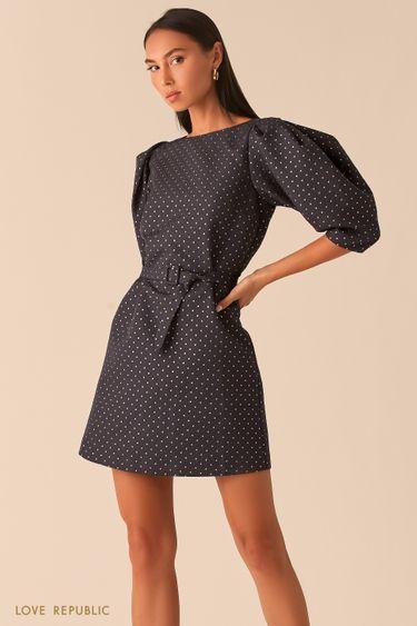 Черное платье вафельной фактуры с рукавами-буфами 0359226574