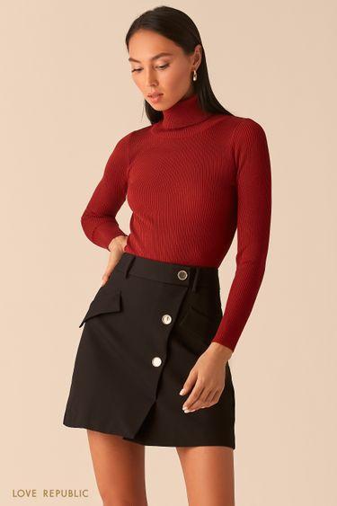 Черная юбка мини с косым рядом пуговиц 0359236214