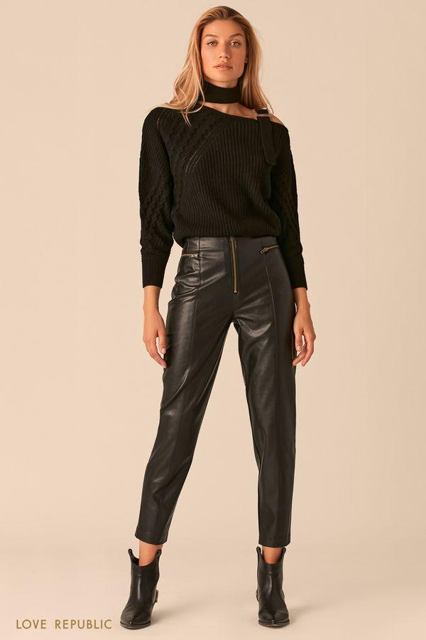 Черные брюки из экокожи с акцентными молниями 0359202736-50