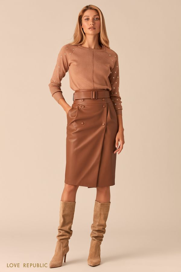 Кожаная черная юбка с запахом и широким ремнем 0359205213-50
