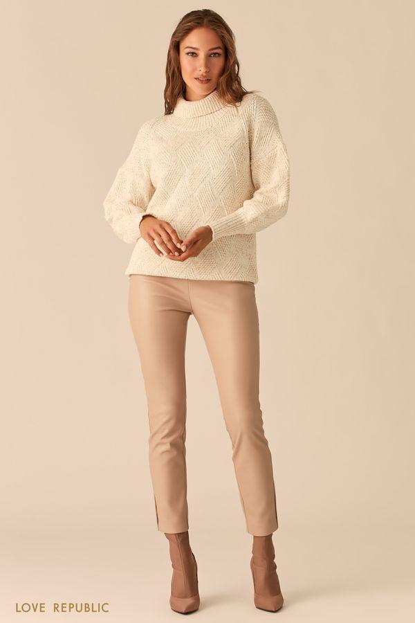 Кремовые брюки-дудочки из экокожи 0359205746-61
