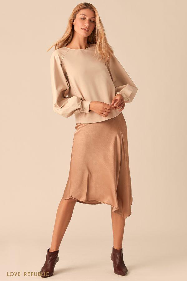 Комбинированная блузка с рукавами реглан из экокожи 0359208303-50