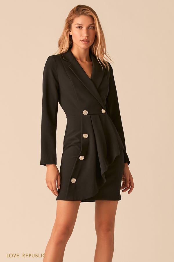 Черное платье-пиджак с асимметричным воланом 0359222573-50