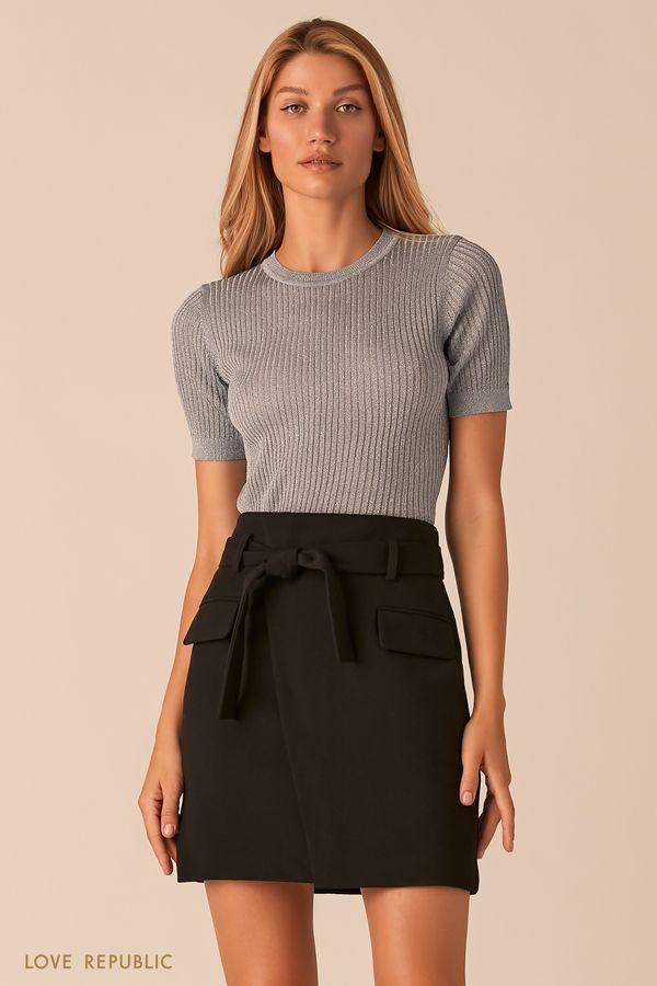 Черная юбка-мини с запахом и поясом на талии 0359225221-50