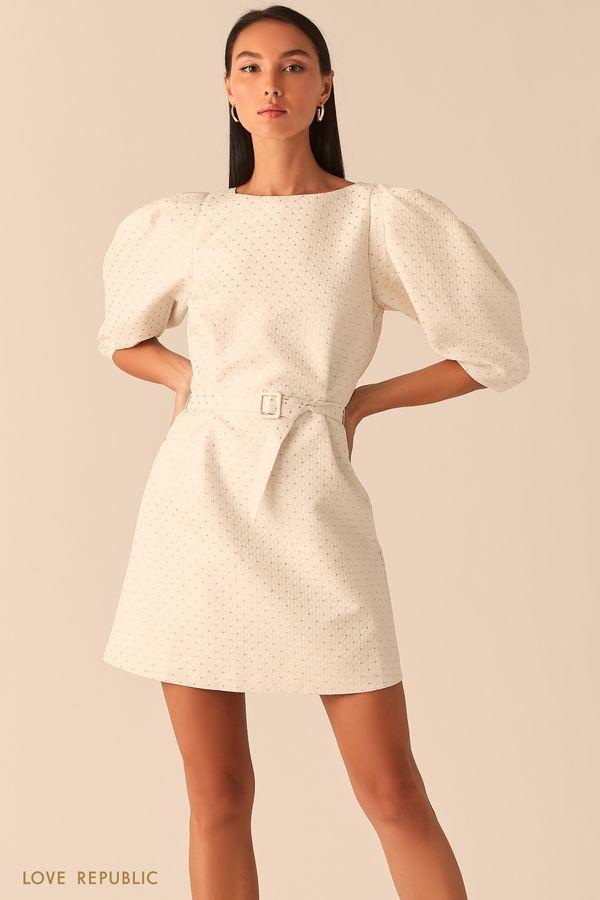 Молочное платье вафельной фактуры с рукавами-буфами 0359226574-60