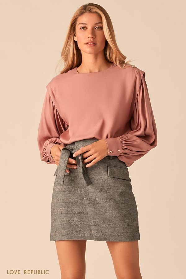 Серая юбка-мини с запахом и поясом на талии 0359231221-34