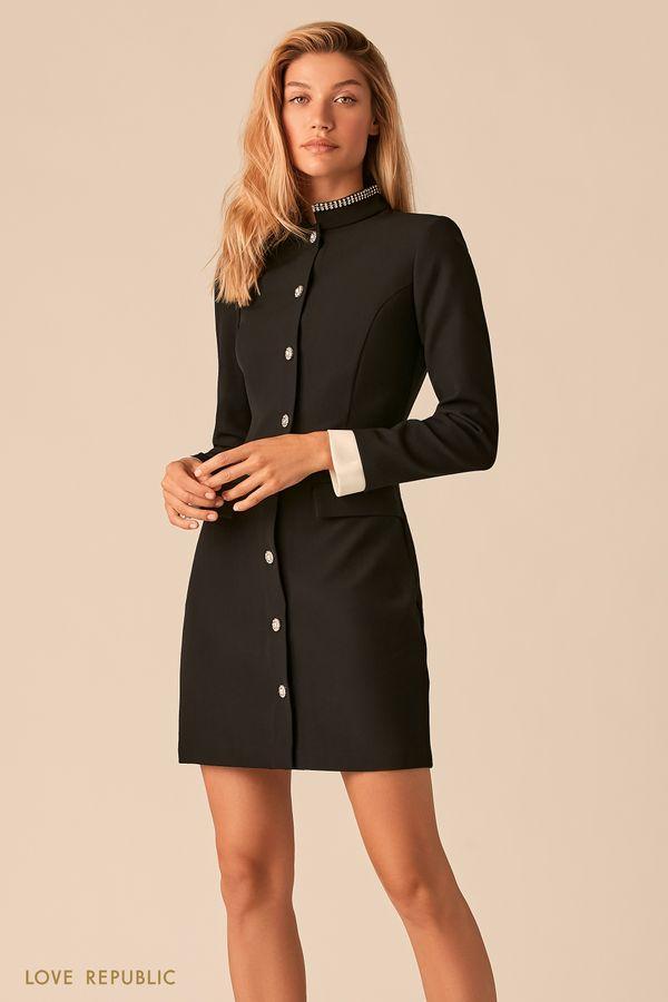 Приталенное платье в стиле милитари с контрастными манжетами 0359242589-50