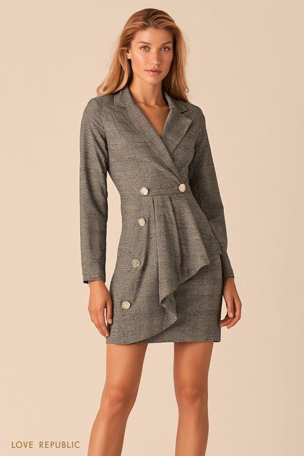 Серое платье-пиджак с асимметричным воланом и принтом гленчек 0359249573-34