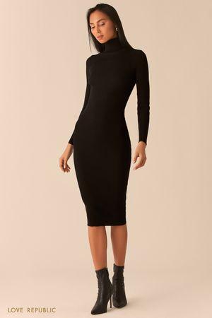 Платье из рельефного трикотажа с высоким горлом черного цвета фото