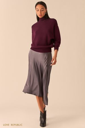Свитер с плетеными швами сливового цвета