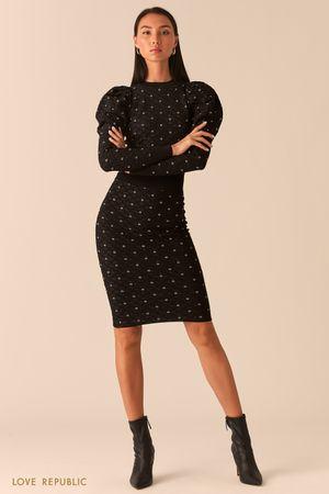 Черная юбка-карандаш из фактурного трикотажа с блеском фото