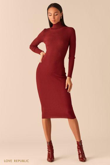 Платье из рельефного трикотажа с высоким горлом вишневого цвета 0359307579