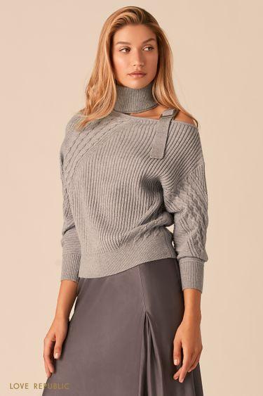 Серый свитер с фигурным вырезом на одно плечо 0359309809